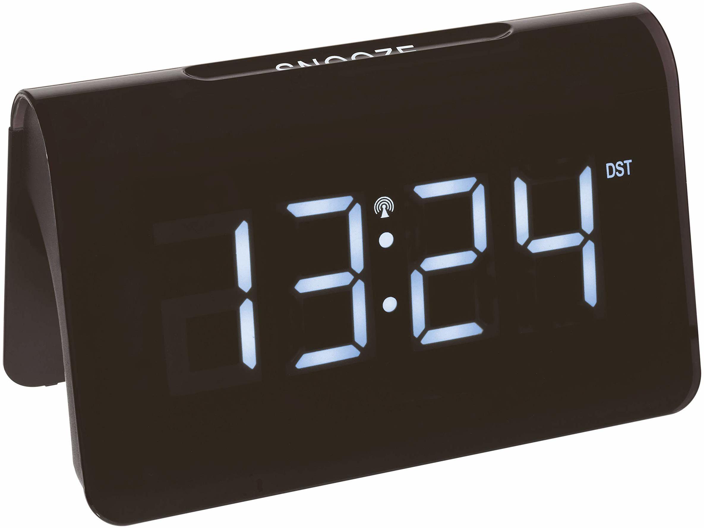 TFA Dostmann ICON cyfrowy budzik radiowy, 60.2543.02, zegar radiowy, tworzywo sztuczne, czarny, dł. 140 x szer. 120 x wys. 120 mm
