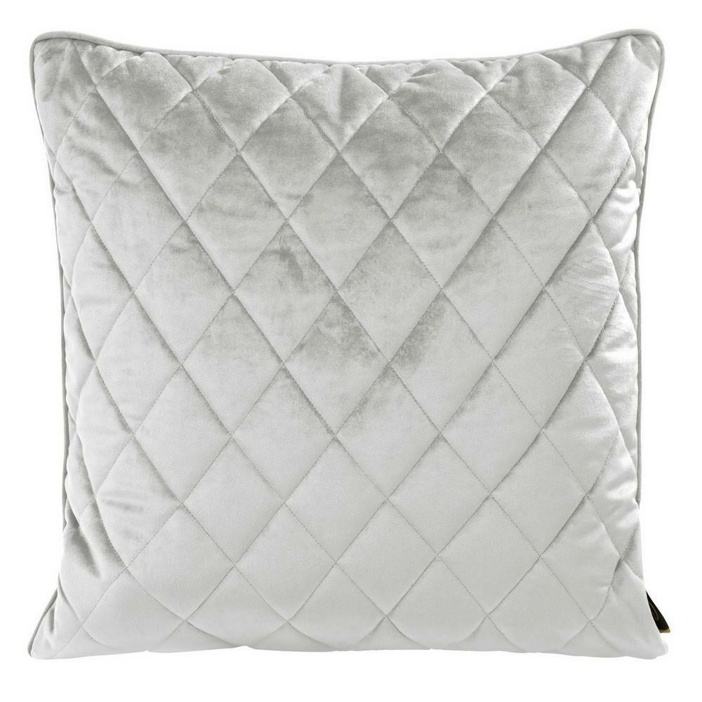 Poduszka dekoracyjna 50x50 Velvet 28 E srebrna welwetowa geometryczna Eurofirany