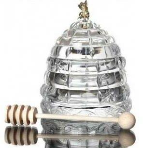 Pojemnik na miód miodownik Czeska Bohemia kształt ul z pszczółką