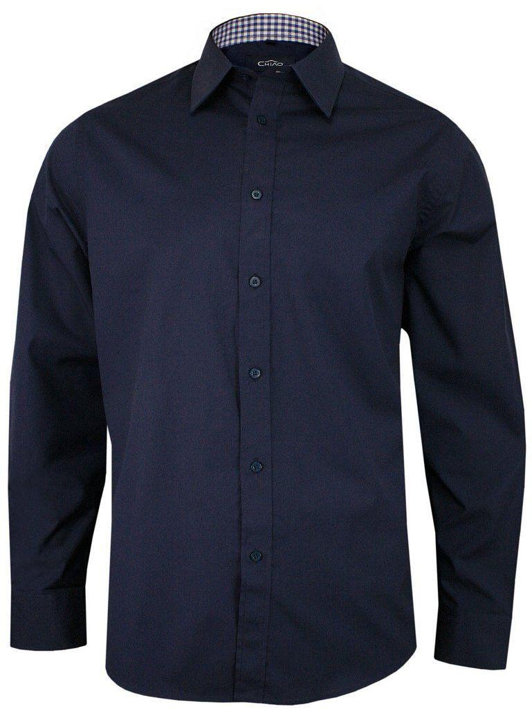 Ciemna Granatowa Koszula Męska z Długim Rękawem, 100% Bawełna -CHIAO- Taliowana, Gładka KSDWCHIAOH4156