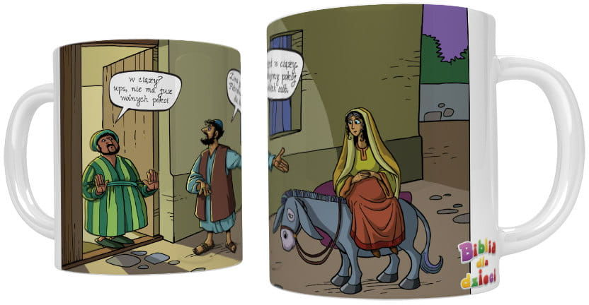 Kubek religijny Józef szuka schronienia w Betlejem