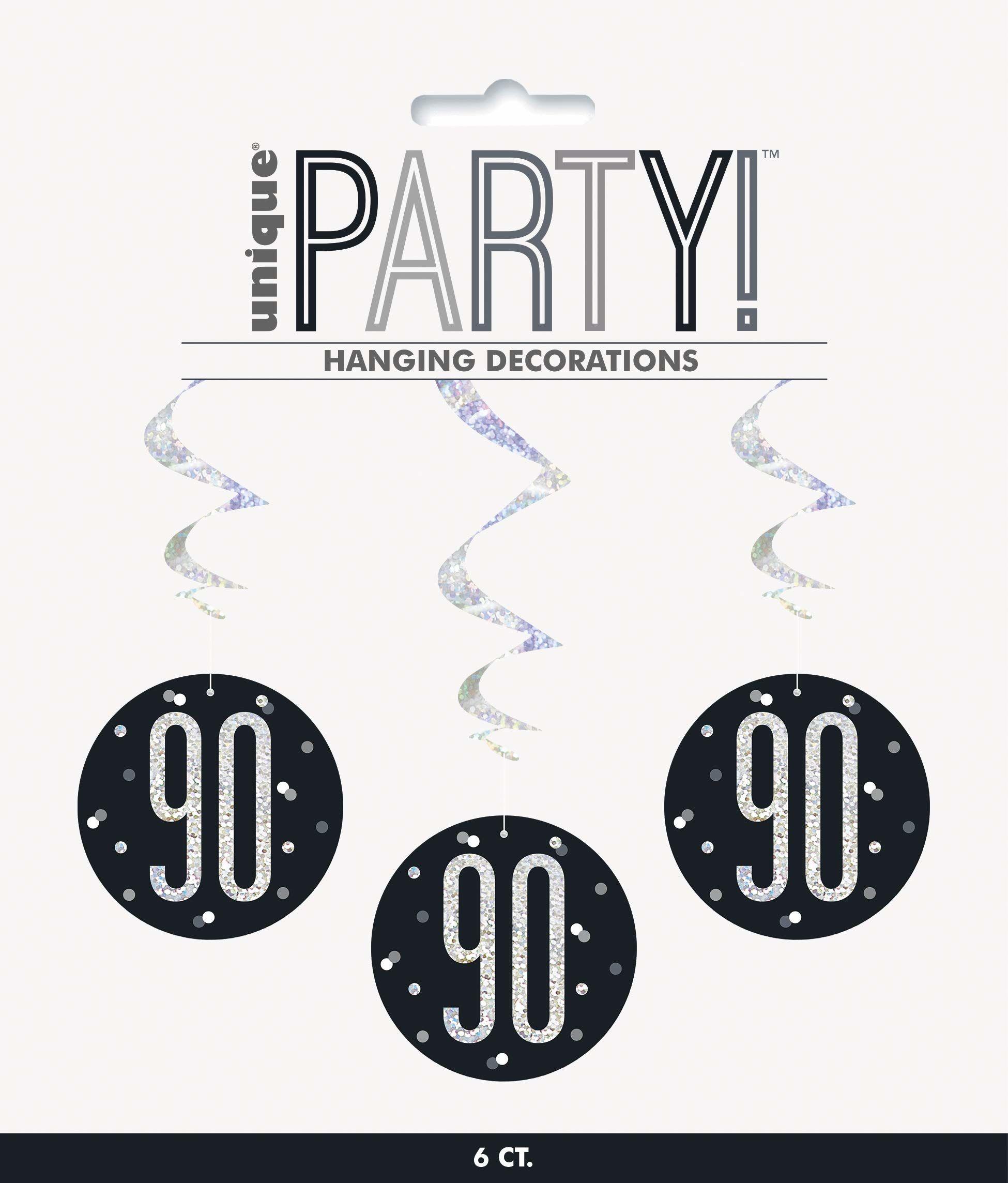 Unique Party 83791 83791-wiszący wir brokatowy czarny i srebrny dekoracje na 90 urodziny, opakowanie 6 sztuk, czarny, wiek 90 lat