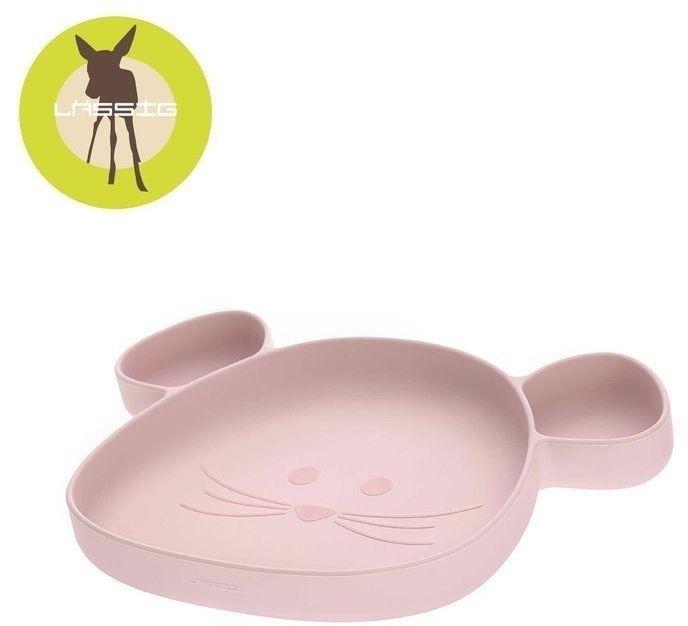 Talerz silikonowy z przyssawką little chums mysz różowy, lassig