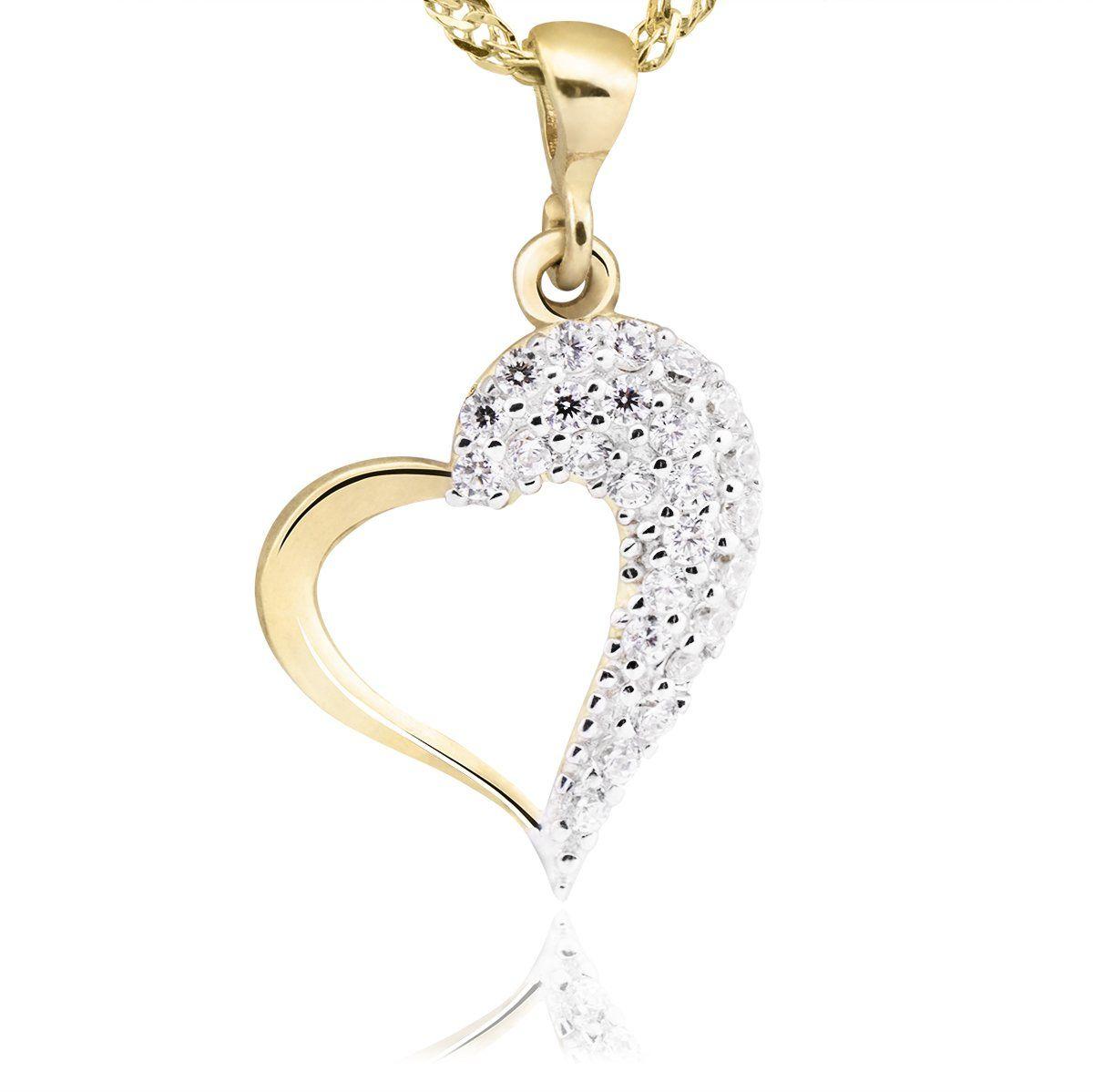 Złoty wisiorek serce z kryształkami pr. 333