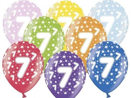 Balony na 7 urodziny z cyfrą 7 metaliczne, 6 szt.