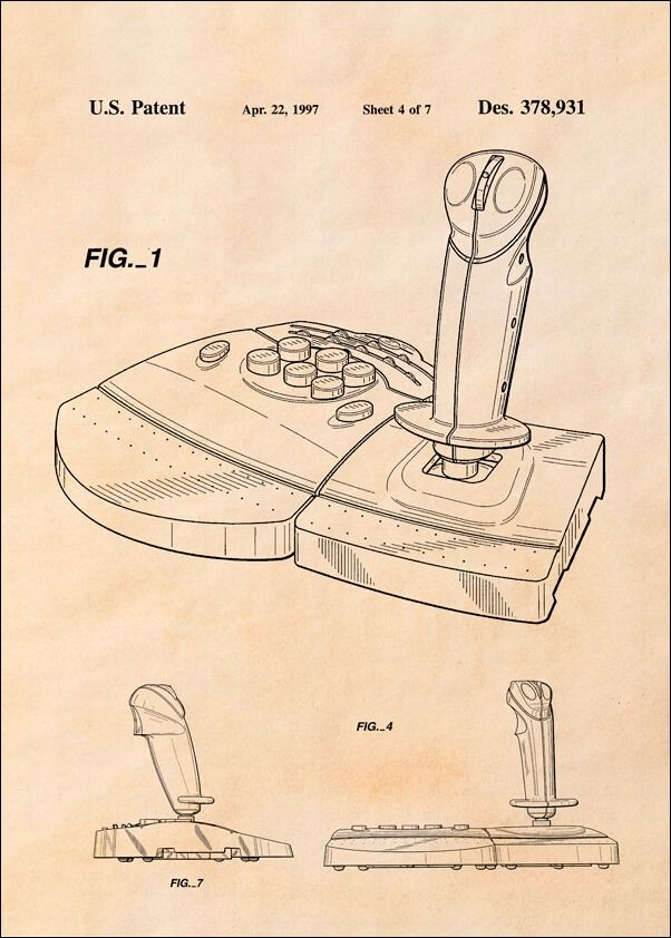 Patent, joystick do gier 1997 sepia - plakat wymiar do wyboru: 20x30 cm