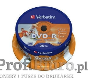 Płyty Verbatim DVD-R 4,7GB 16x - Cake Box - 25 szt. - Printable