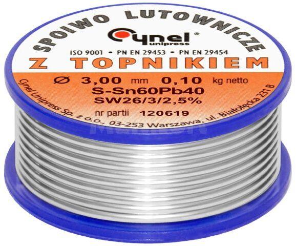 Spoiwo CYNEL Sn60Pb40 drut lutowniczy 3mm 0,1kg Topnik F-SW26