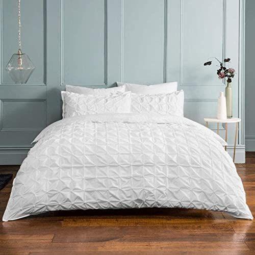 Sleepdown Plisowana plisowana biała dwustronna pościel zestaw i poszewki na poduszki, mieszanka bawełny, kołdra