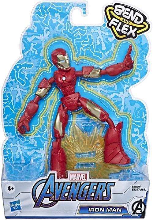 Marvel Avengers Bend And Flex figurka akcji, 15 cm duża giętka figurka Iron Man z efektem, dla dzieci od 6 lat