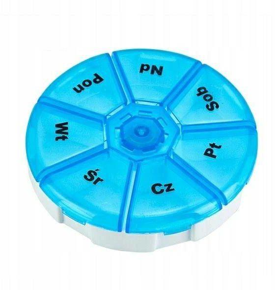 Pojemnik pudełko organizer na leki tabletki okrągły 1 sztuka KAT05260