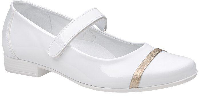 Balerinki buty komunijne KORNECKI 6127 Białe Lakierki - Biały