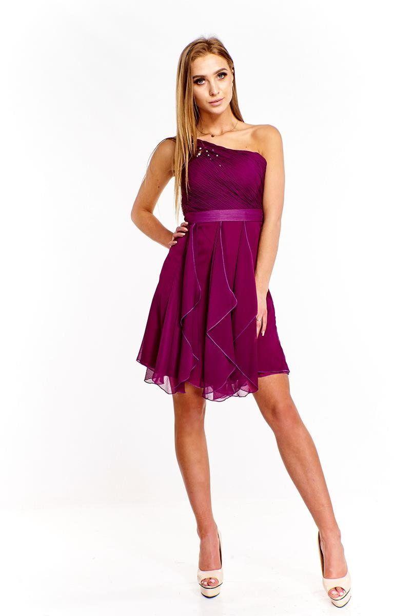 FSU739 Suknie wizytowe Sukienka PURPUROWY