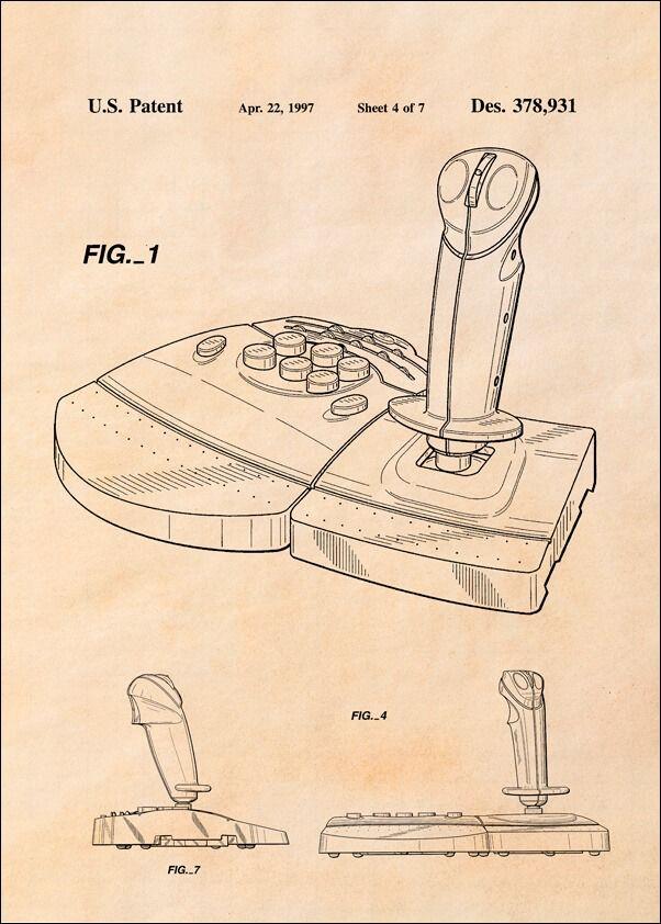 Patent, joystick do gier 1997 sepia - plakat wymiar do wyboru: 30x40 cm