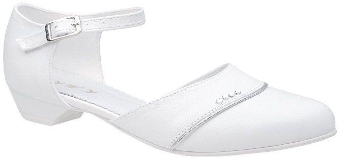 Pantofelki buty komunijne dla dziewczynki KMK 213 Białe - Biały