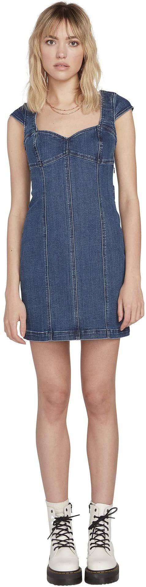 Volcom Damska sukienka w Not Sweet niebieski Indigo Ridge Wash XL