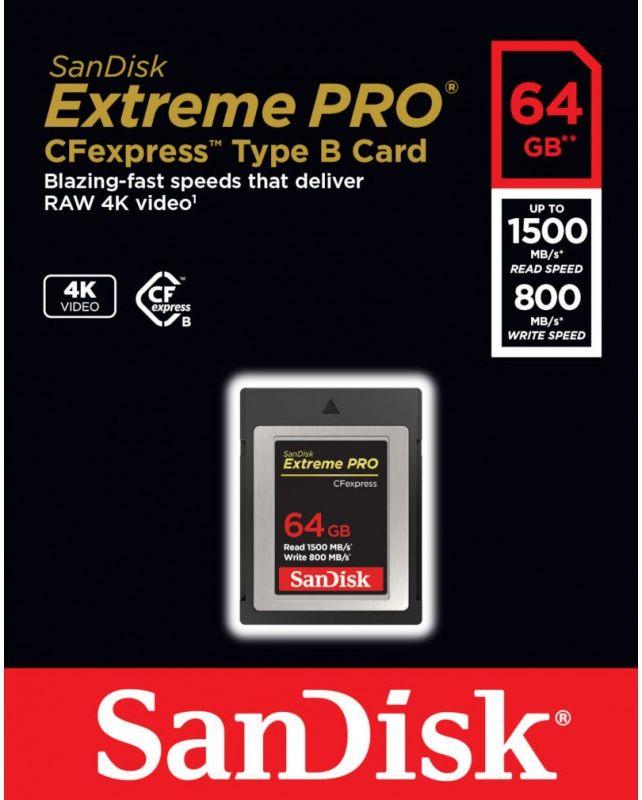 SanDisk SDCFE-064G-GN4IN - karta Extreme Pro CFexpress 64GB, 1500Mb/s SanDisk SDCFE-064G-GN4IN
