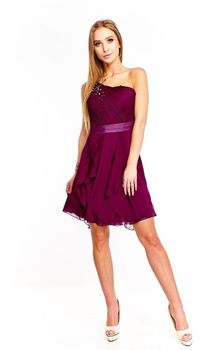 FSU739 Suknie wizytowe Sukienka ŚLIWKOWY CIEMNY
