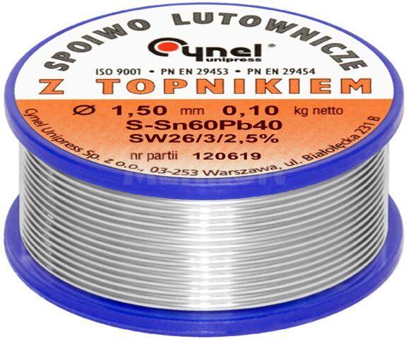 Spoiwo CYNEL Sn60Pb40 drut lutowniczy 1,5mm 0,1kg Topnik F-SW26