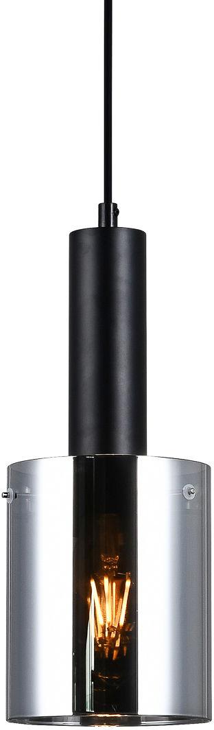 Italux Sardo PND-5581-1-BK+SG lampa wisząca nowoczesna stalowa czarny klosz szkło dymiony IP20 E27 1x40W 13cm