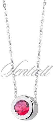 Naszyjnik, łańcuszek celebrytka srebro pr.925 z okrągłą zawieszką i rubinową cyrkonią