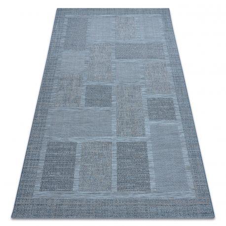 Dywan SZNURKOWY SIZAL FORT 36209535 niebieski kwadraty ramka 200x290 cm