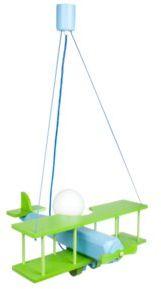 Lampa samolot duży - zielono/ niebieski