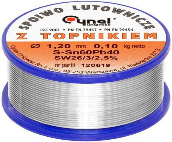 Spoiwo CYNEL Sn60Pb40 drut lutowniczy 1,2mm 0,1kg Topnik F-SW26