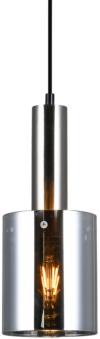 Italux Sardo PND-5581-1-SC+SG lampa wisząca nowoczesna stalowa nikiel satynowany klosz szkło dymiony IP20 E27 1x40W 13cm
