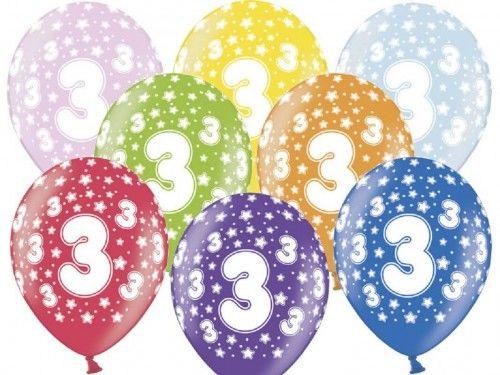 Balony na 3 urodziny z cyfrą 3 metaliczne, 6 szt.
