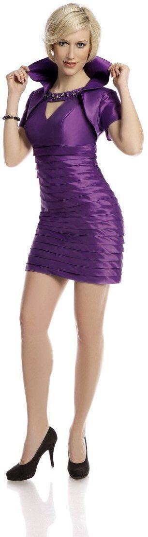 FSU740 Suknie wizytowe Sukienka PURPUROWY