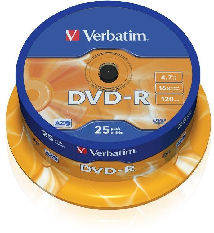 Płyty DVD-R VERBATIM 43522 4.7GB 16x - Cake Box - 25szt.