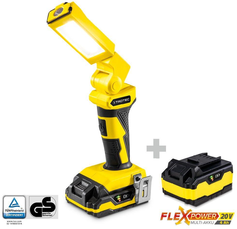 Akumulatorowa lampa robocza PWLS 10-20V plus Zapasowy akumulator wielofunkcyjny Flexpower 20V 4,0 Ah