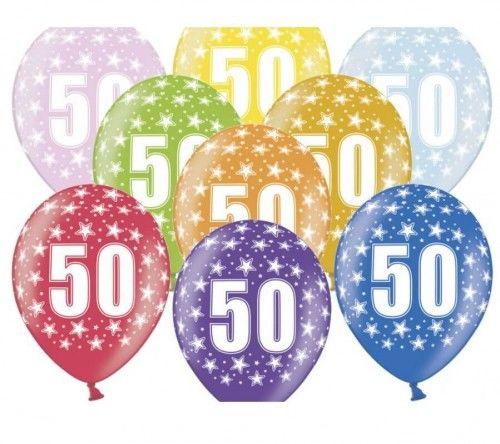 Balony na 50 urodziny z cyfrą 50 metaliczne, 6 szt.