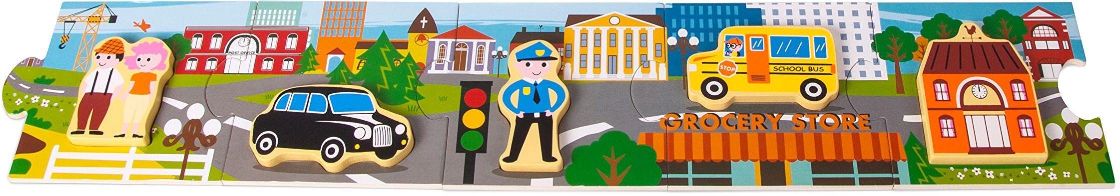 Small Foot 10794 Storypuzzle miasto malowane drewno, wykonane z pięciu dużych elementów zawiera dodatkowe puzzle, stymuluje wyobraźnię i rozwój języka oraz wspomaga umiejętności motoryczne