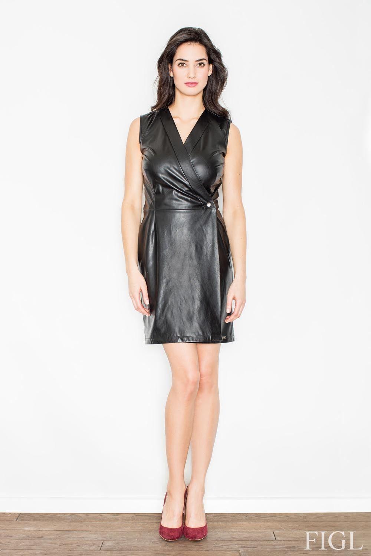 Czarna stylowa i modna sukienka z eko-skóry bez rękawów