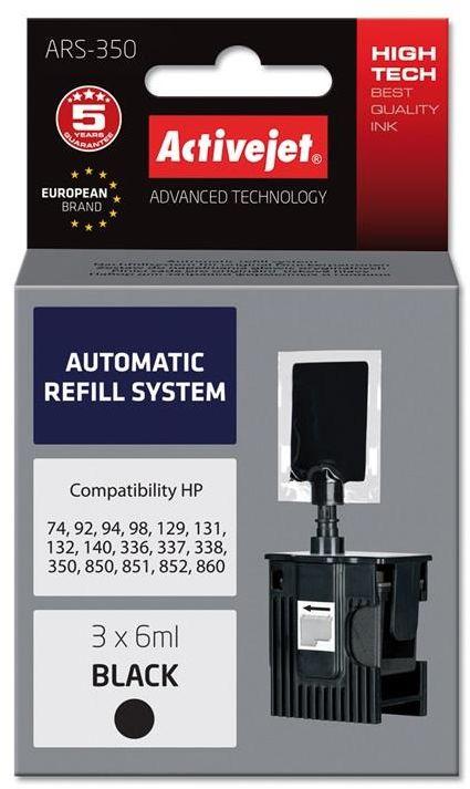 Automatyczny system napełniania Activejet ARS-350 (do drukarki Hewlett Packard, C9362 no336, C9364 no337, C8765 no338, CB335 no350 3x6ml czarny)