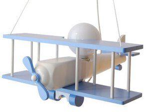 Lampa samolot duży - biało/ niebieski
