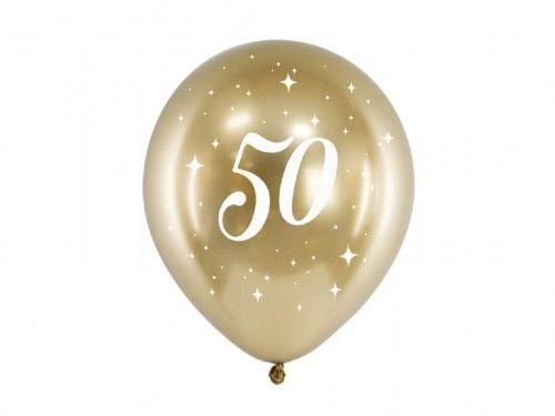Balony Glossy na 50 urodziny złote, 6 szt.