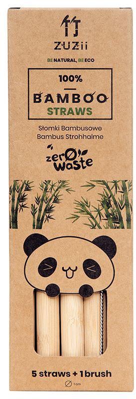 Słomki bambusowe duże 5 szt + czyścik - zuzii