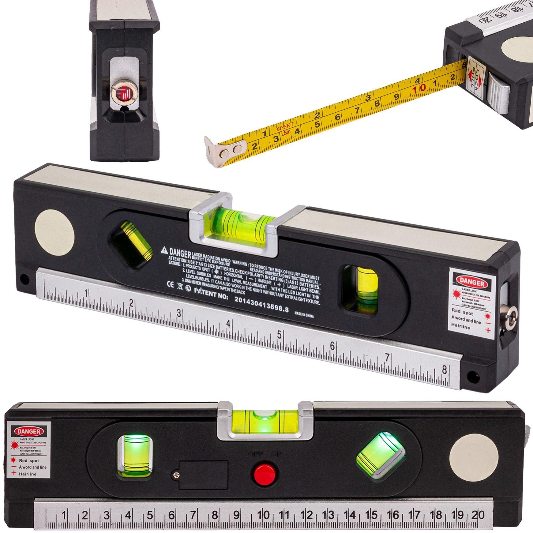 Poziomica laserowa z miarką standardową i zwijaną 150cm +LED +magnes GEKO