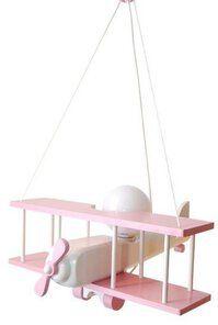 Lampa samolot duży - biało/ różowy