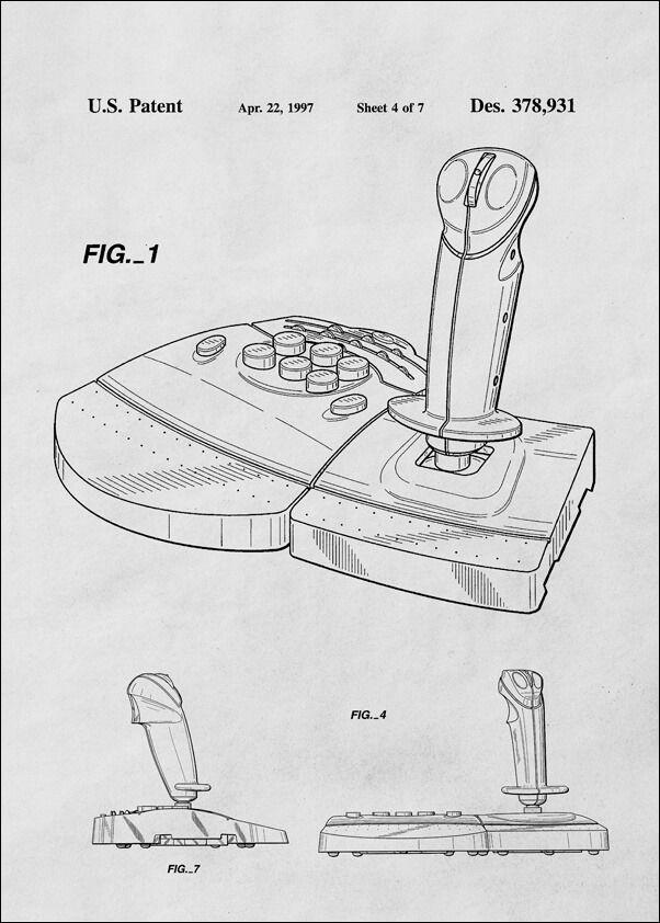 Patent, joystick do gier 1997 - plakat wymiar do wyboru: 21x29,7 cm
