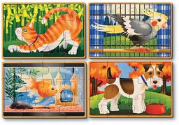 Melissa & Doug Puzzle dla zwierząt domowych w pudełku łamigłówki drewniana zabawka 3+ prezent dla chłopca lub dziewczyny