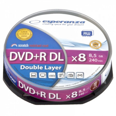 1245 Dvd+r esperanza 8,5gb x8 dl - cake box 10 szt.