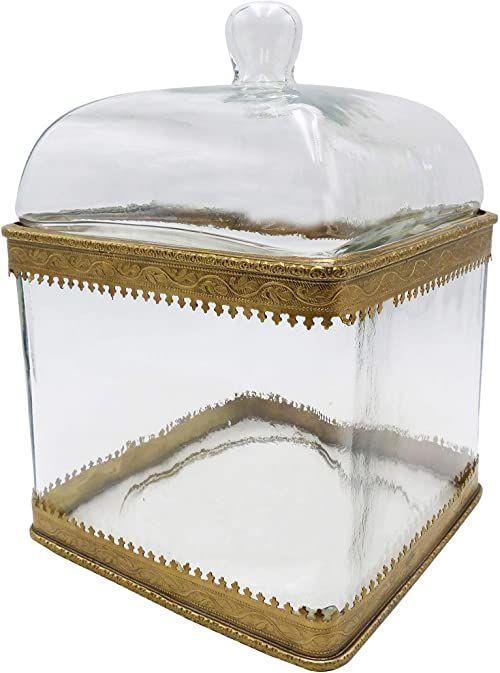 Pudełko do przechowywania ze szkła z pokrywką z metalu, kolor złoty, wymiary: 16 x 16 x 23 cm, materiał: szkło i metal
