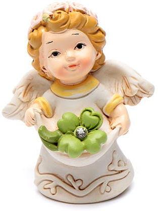Aniołek z koniczyną żywica 6 cm