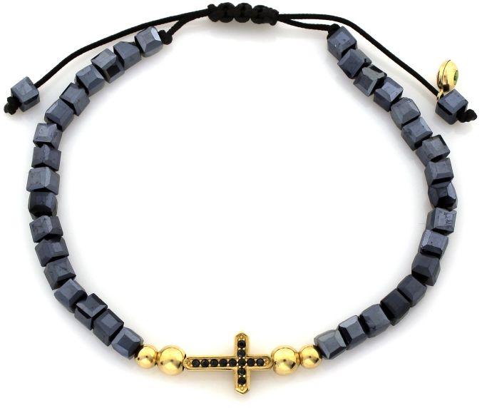 Złota bransoletka 585 sznurkowa z hematytem