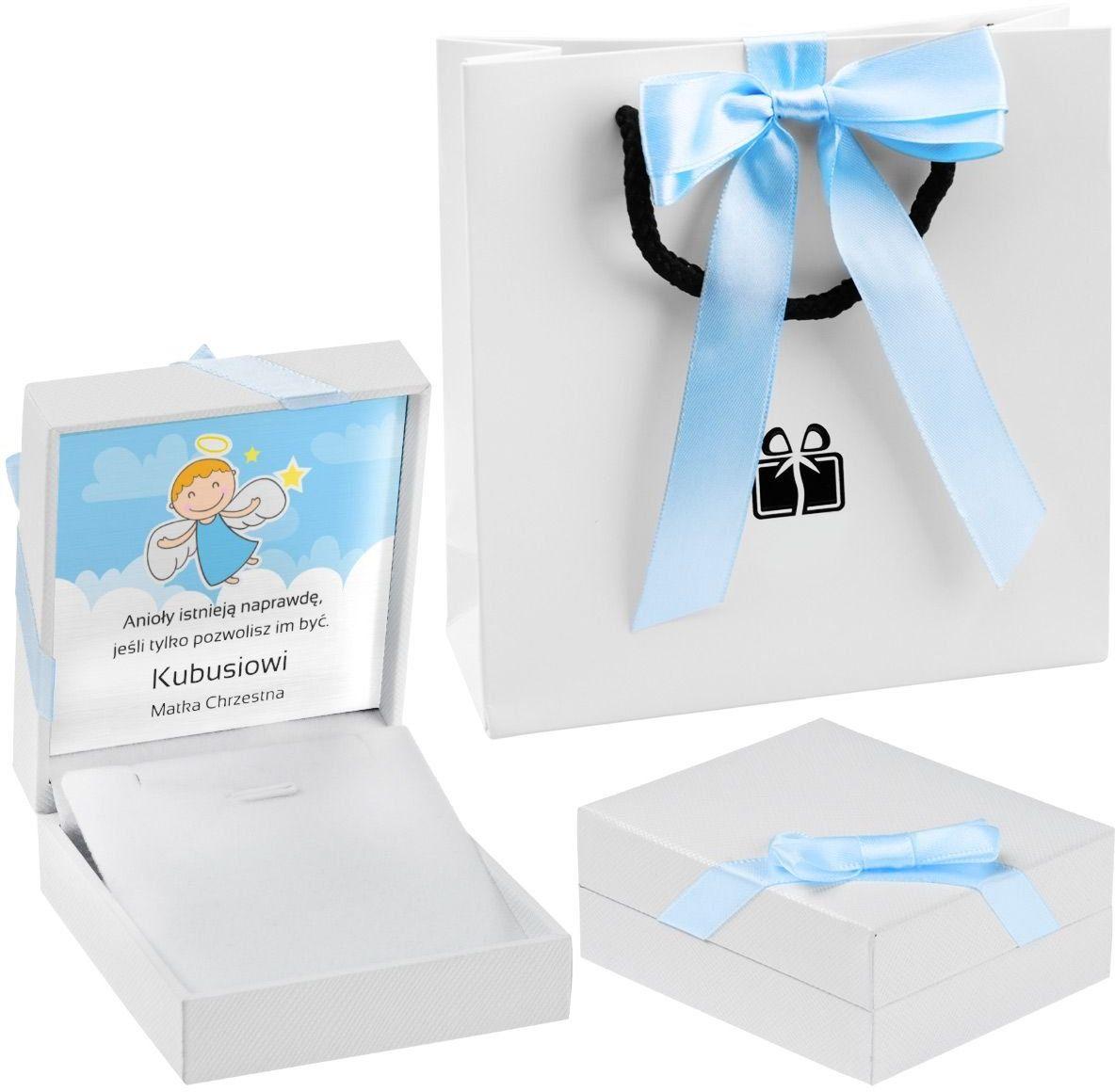 Pudełko na biżuterię białe z niebieską tasiemką Dedykacja Chrzest