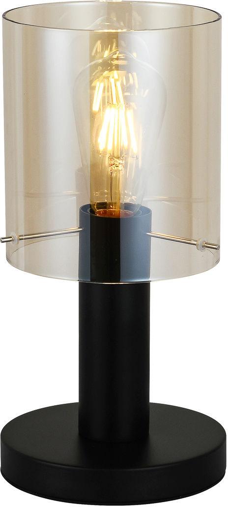 Italux Sardo TB-5581-1-BK+AMB lampa stołowa nowoczesna stal czarny klosz szkło bursztynowy IP20 E27 1x40W 16cm